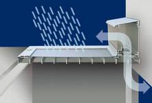 Schutz vor wasser duch die Polycarbonatplatte bei gleichzeitiger Lüftungsfunktion.